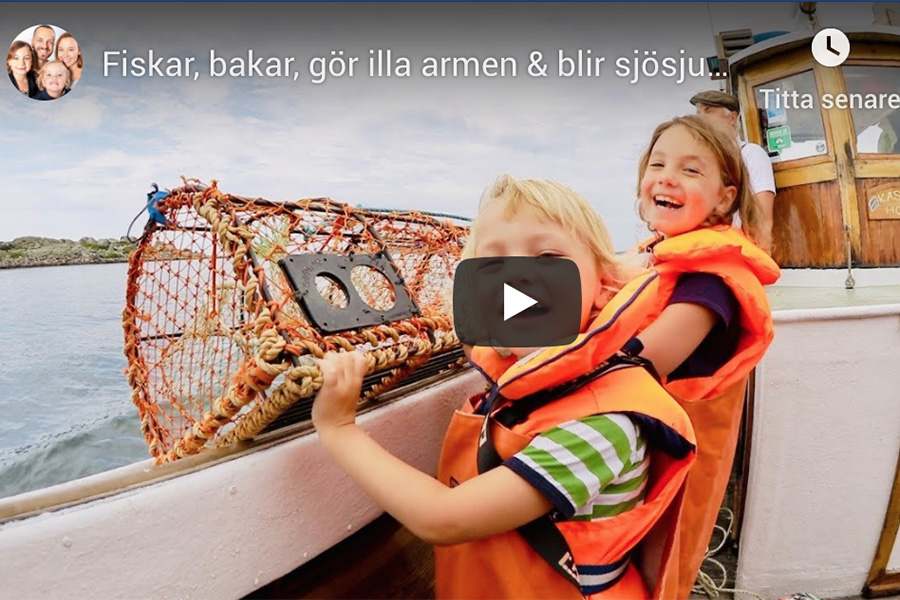 YouTube starts Swedish Family is fishing crabs with Kastor june 2019  (min 8.37 till 12.27)